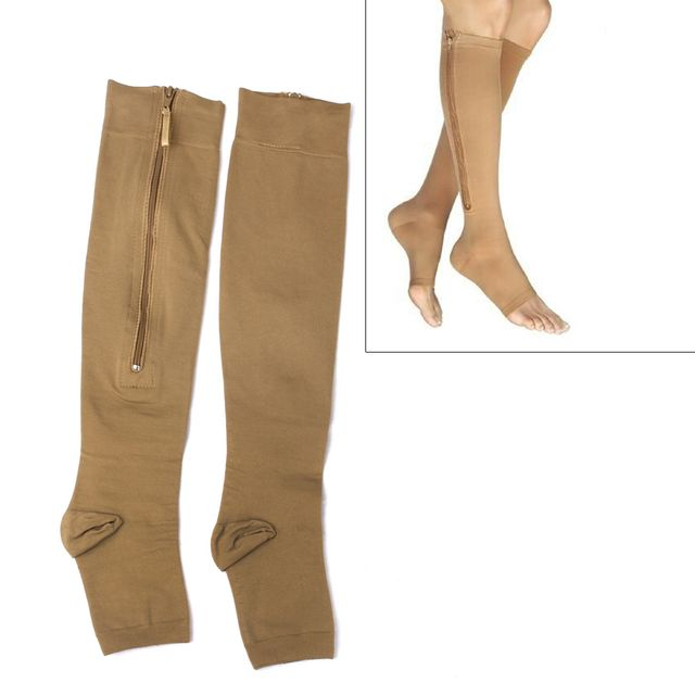 Pair Of Zippered Compression Leg Support Fatigue Reliever Socks Nude M