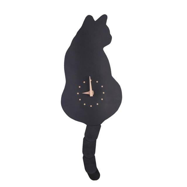 Decorative Cat Wall Clock With Swinging Tail Cat Clock Home DIY Decoration Creative Wall Clocks Home DIY Decoration for Living Room Black
