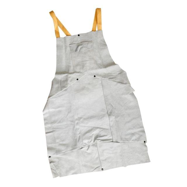 Heat Resistant 90x60cm White Leather Weld Proctective Apron with Pockets Splatter Resistant