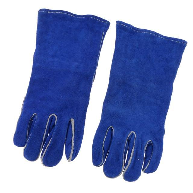 1 Pair Of Artificial Cowhide Welding Protective Gloves Fireproof Soft Blue