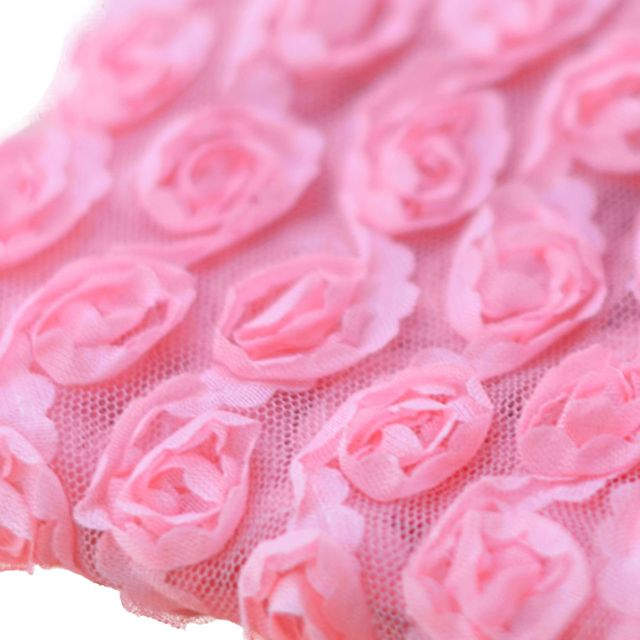 3 Yard 6-Rows Rose Flower Chiffon Sewing Lace Trim Fabric Craft Projects Hat Clothes Decor Wedding Party DIY Watermelon Red