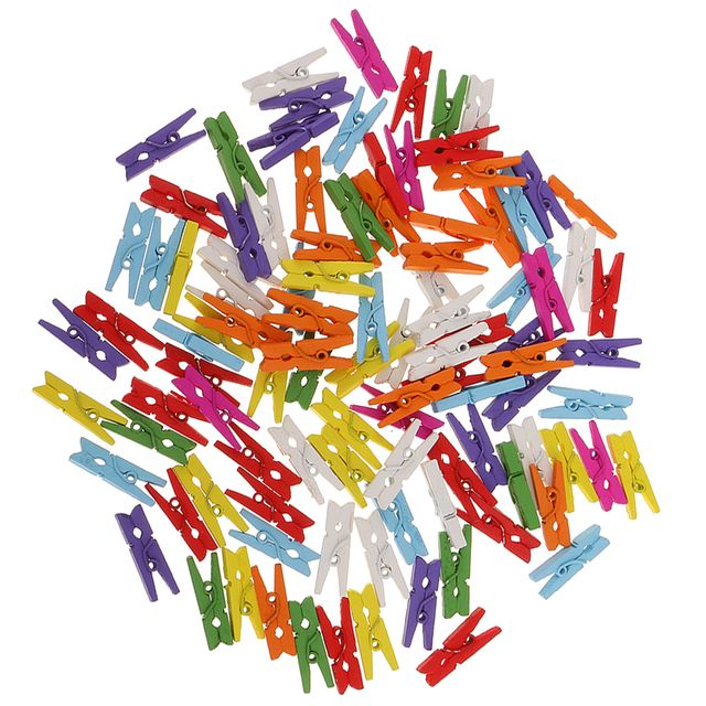 100 Pieces 25mm Colorful Mini Wooden Clips Clothespin Photo Holder Paper Pegs