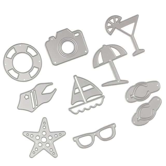 10 Pieces/set Beach Cutting Dies Stencil for DIY Scrapbooking Album Embossing Paper Crafts Card Making