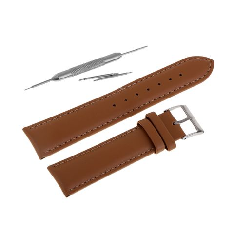 Genuine Leather Watch Strap Wrist Watch Band Replacement for Men Women 20mm Brown