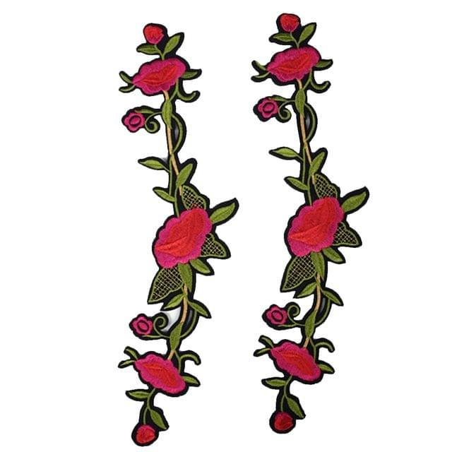2 Pieces Embroidery Flower Sewing Trim Applique Patches Iron on Sewing on Clothes Dress Embellishment