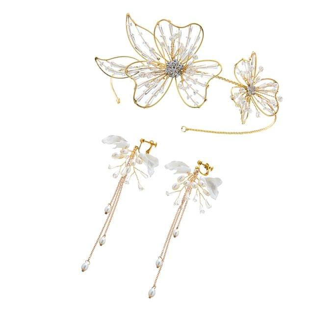 Ladies Crystal Large Flowers Headband & Long Dangle Earrings Set Wedding Bridal Accessories