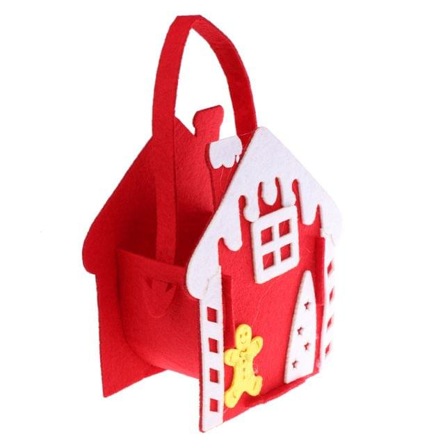 Novelty Christmas House Design Gift Candy Treat Bags With Handle Xmas Holiday Favour