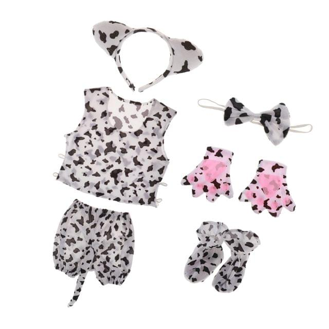 6/set Kids Black Spots Costume Set Milk Cow Doggy Kitty Fancy Dress