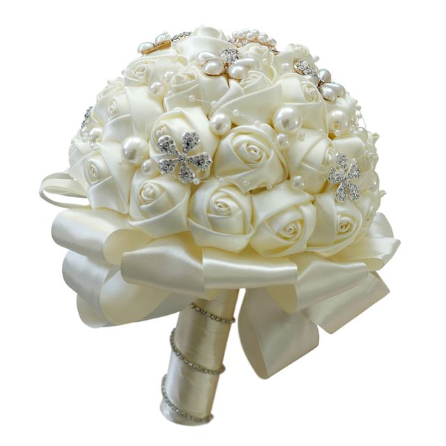 Milk White Satin Roses Flowers Bouquet with Crystals Pearls Bridal Bouquet