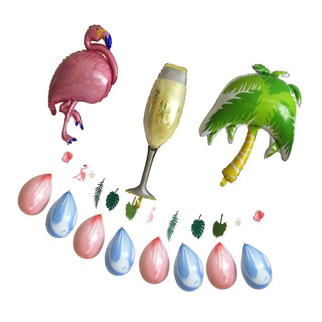 Hawaiian Luau Large Flamingo Cup Palm Tree Foil Balloon Banner Party Decor