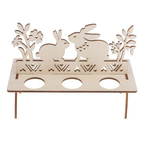 Vintage Style Wooden Rabbit Bunny Egg Holder Shelves Happy Easter Home Kitchen Accessories