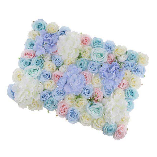 Artificial Rose Hydrangea Flower Wall Panels Backdrop Blue