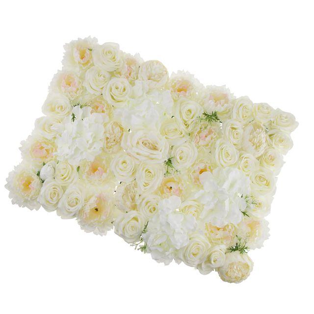 Artificial Rose Hydrangea Flower Wall Panels Backdrop White