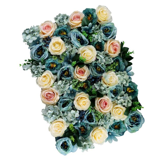 Artificial Flower Wall Panels Wedding Venue Decor Photo Backdrop Gray & Blue