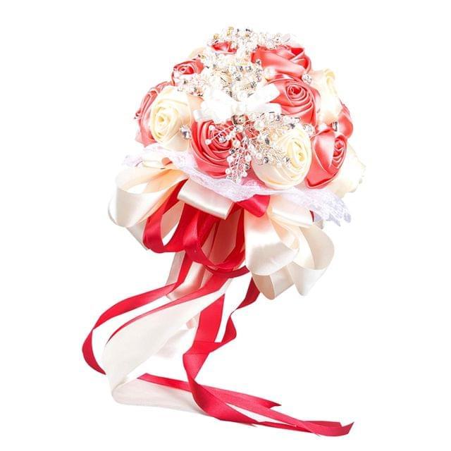 Luxury Wedding Bridal Artificial Ribbon Rose Flower Bouquet Hand Tied Flower