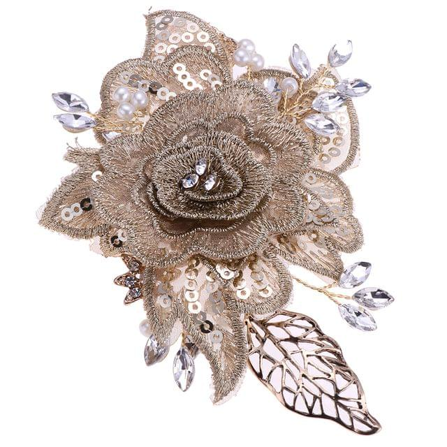 Elegant Pearls Rhinestone Flower Side Hair Clip Wedding Bridal Party Jewelry