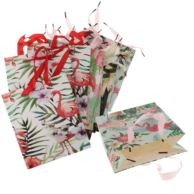 12pcs Flamingo Bags Birthday Party Wedding Favor Handle Bags 18 x 8.5 x 21cm
