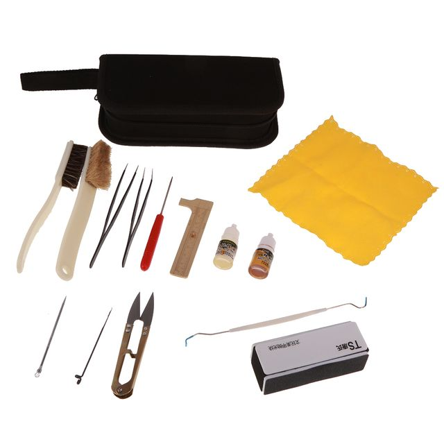 Set of 14pcs Jewelry Making Tools Kit Beading Polishing Tweezers Brushes with Bag