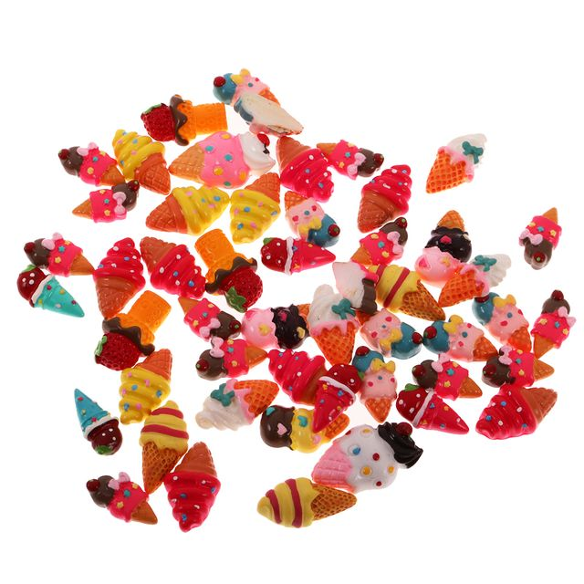 50 Pieces Assorted Ice Cream Resin Flatback Embellishment for DIY Hair Accessories Crafts