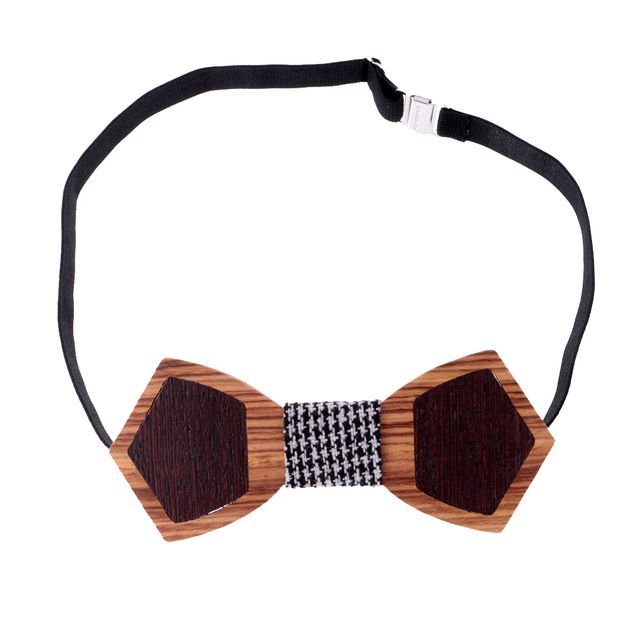 Fashion Novelty Wood Bow Tie Men's Wooden Bowtie with Fabric Strap Necktie Present for Boyfriend Husband Groom