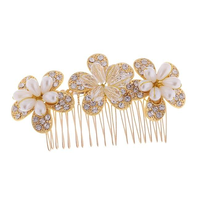 Fashion Charming Women's Crystal Flower Hair Pin Comb Hair Clip Party Prom Diamante Hairpin Hair Accessory