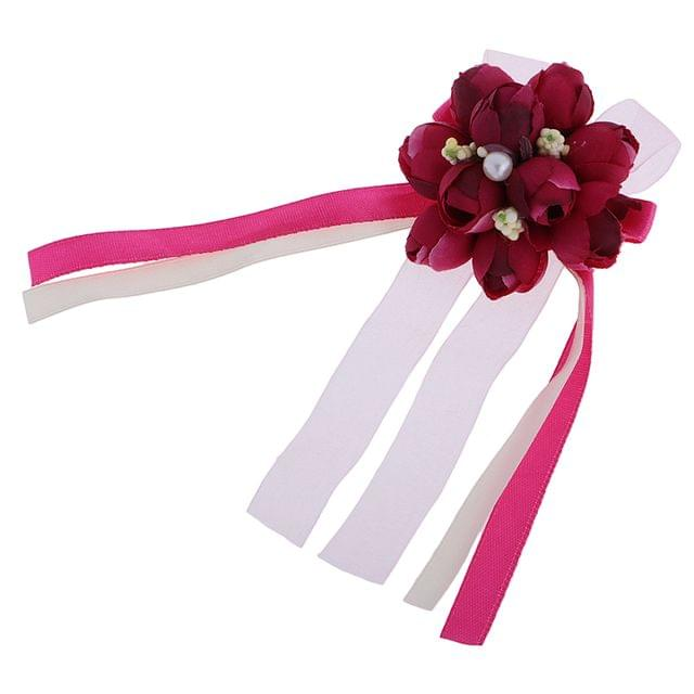 Wedding Groom Bride Boutonniere Corsage Flower Brooch Pin Ribbon Wine Red