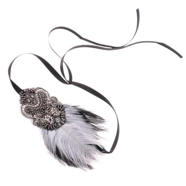 Retro Crystal Feather Headband Wedding Headpiece Great Gatsby Flapper Fancy Dress