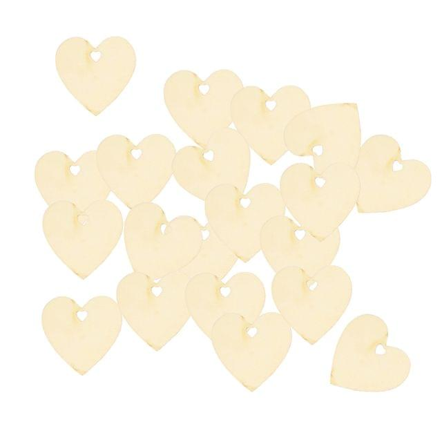 Pack of 25 Unfinished Heart Style Wooden Pieces Shapes DIY Craft Embellishments
