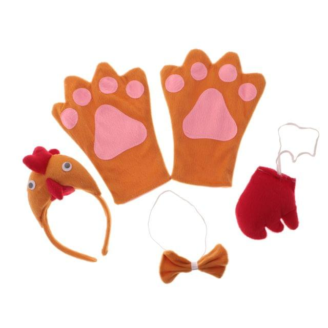 Lovely Christmas Halloween Biddy Hen Animal Headband Set Boy Girls Kids Cosplay Head Band Bow Tail Gloves