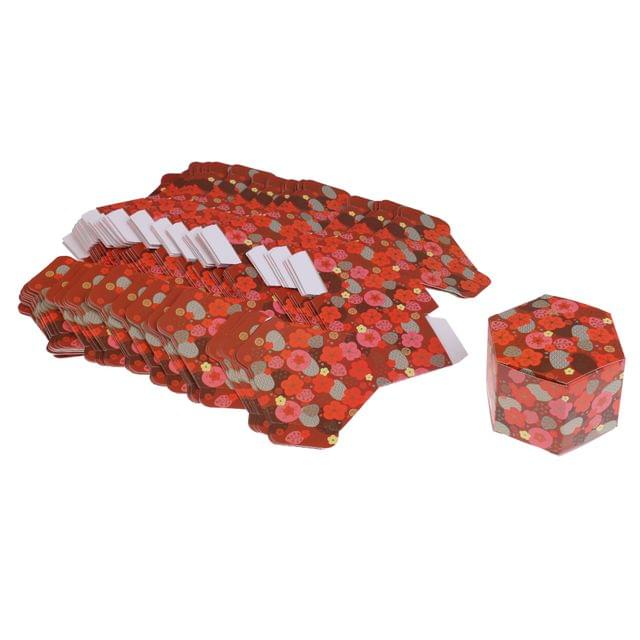 50 Pieces Plum Blossom Wedding Favor Candy Boxes Gift Boxes for Anniversary Red Bottom