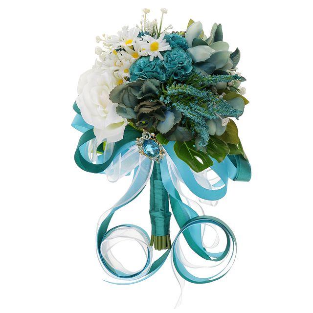 Artificial Bride Rose Daisies Holding Bouquet Silk Ribbon Wedding Flowers