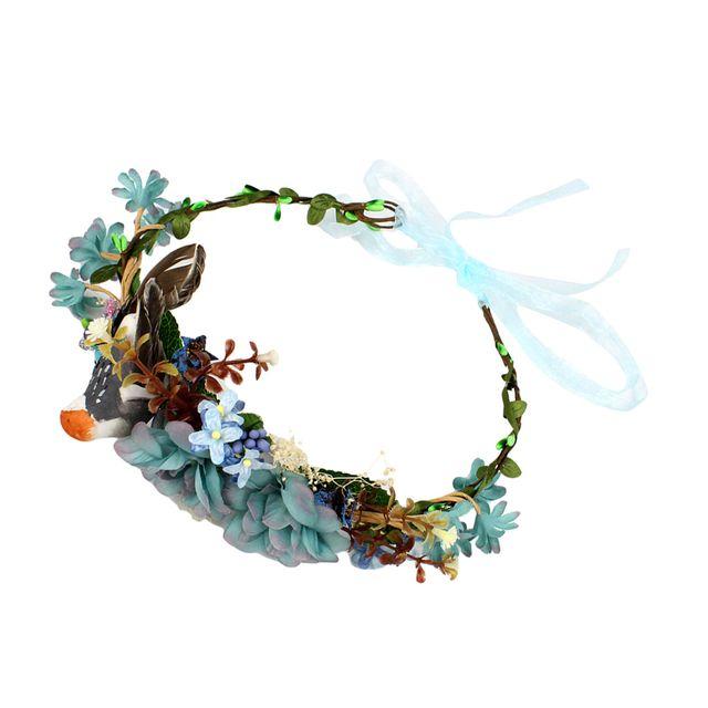 Boho Bird Flower Leaf Crown Headband Garland Bridal Wedding Women Headwear