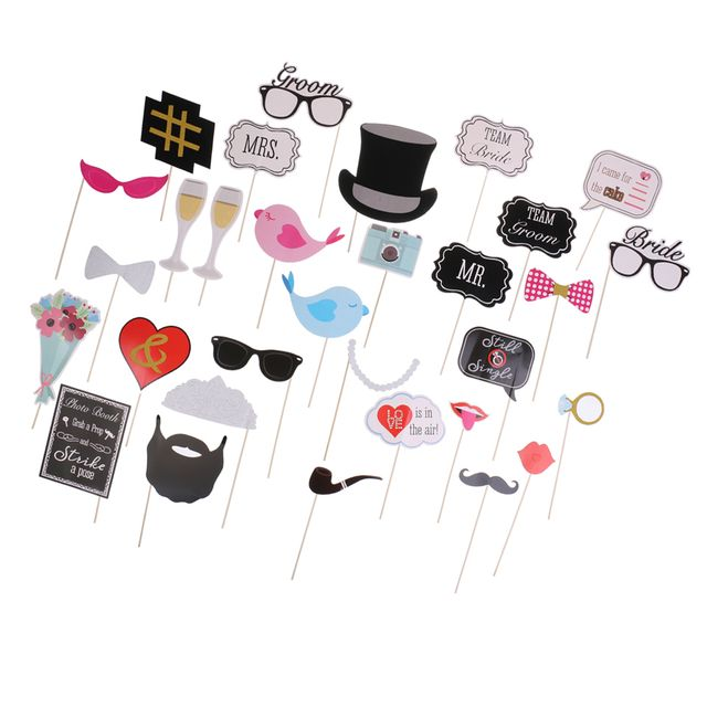 30/set Wedding Mrs Mr Sunglasses Moustache Photo Booth Props On A Stick Party Favors
