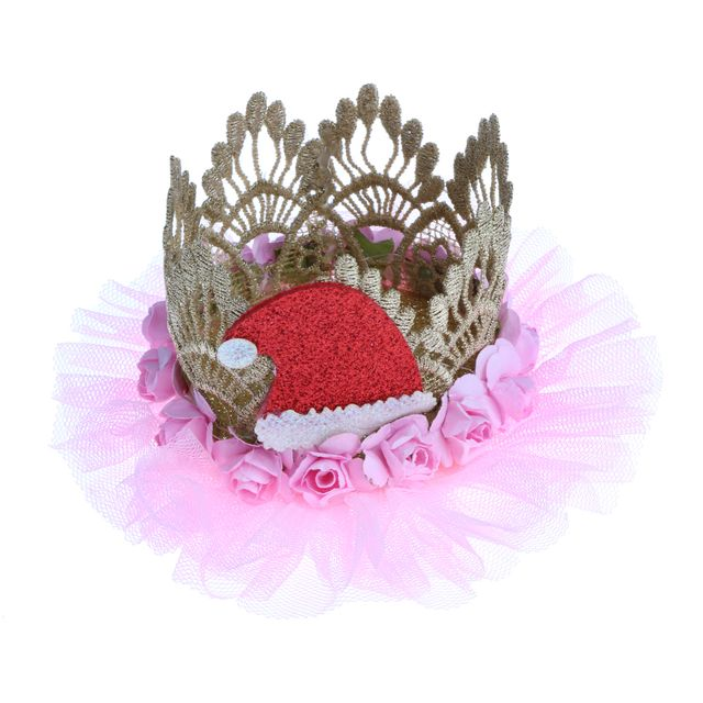 Princess Crown Headband W/ Christmas Hat Decor Party Cake Smash Photo Prop