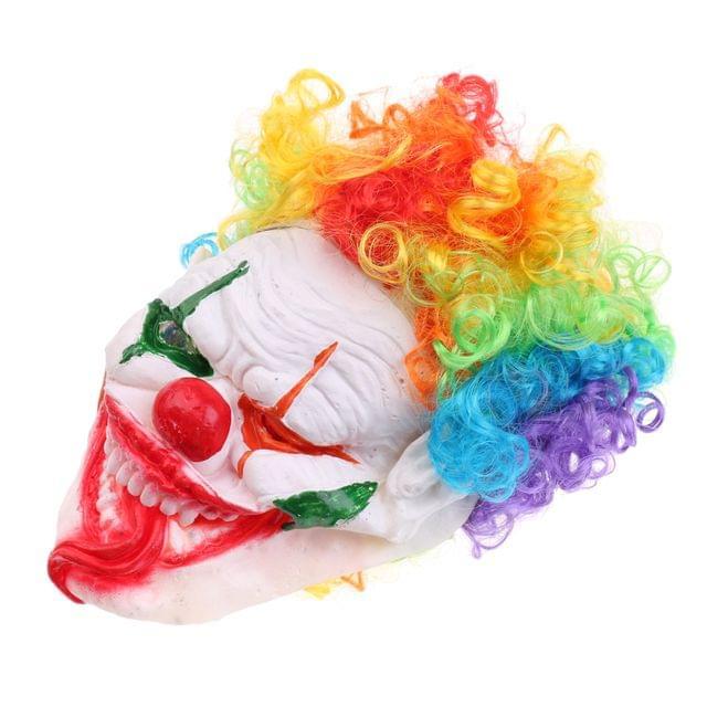 Scary Evil Clown Mask Creepy Big Smile Jester Hat Adult Halloween Costume Prop