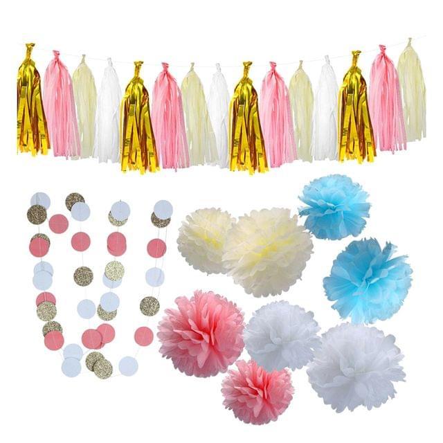 Tissue Paper Pom Pom Flower Tassel Banner Polka Dot Garland Party Decor Kits
