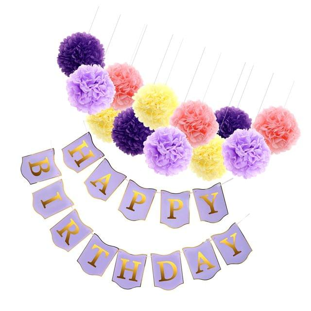 1 Set Happy Birthday Banner Garland Paper Flower PomPom Birthday Party Decor