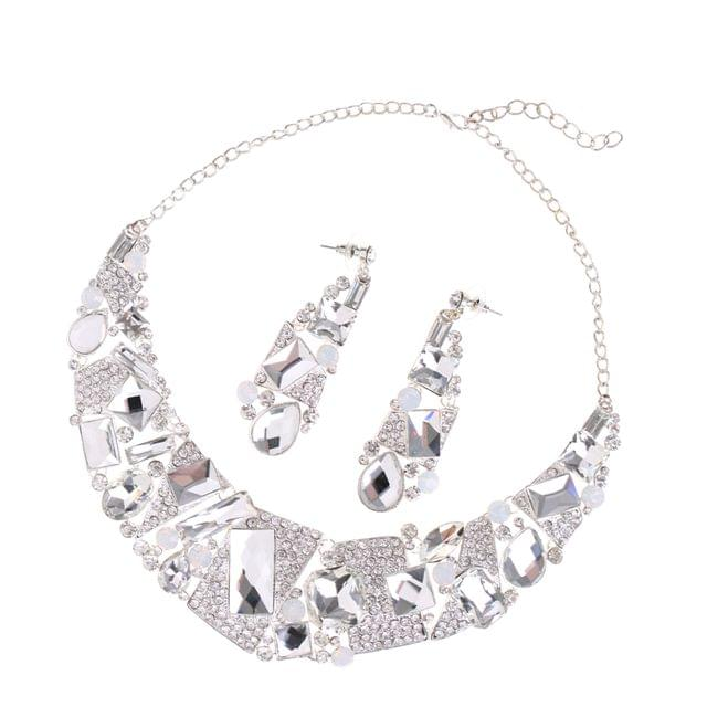 Luxury Ladies Clear Crystal Statement Necklace & Dangle Earring Evening Party Jewelry Set