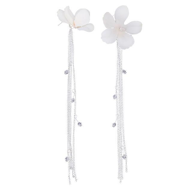 Novelty Long Sliver String Tassel Chain Flower Drop Earrings Wedding Women Ladies Fashion Fancy Dress Ear Jewelry