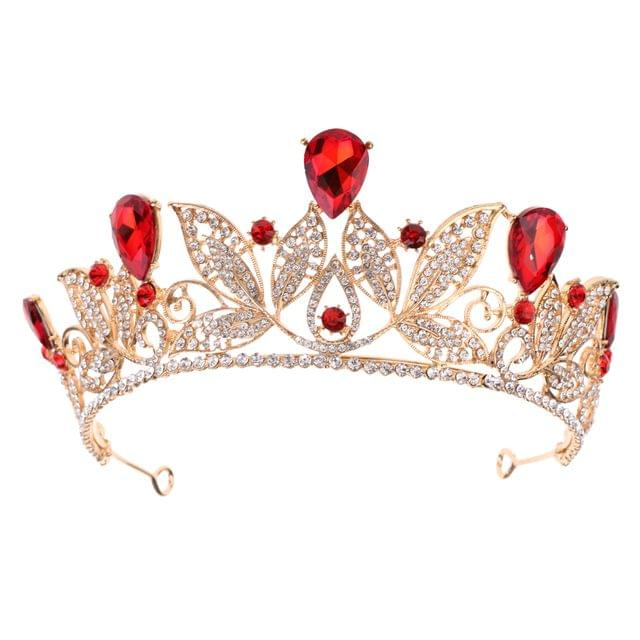 Red Teardrop Crystal Leaves Baroque Tiara Crown Wedding Prom Party Princess Bridal Headband Women Hair Accessory