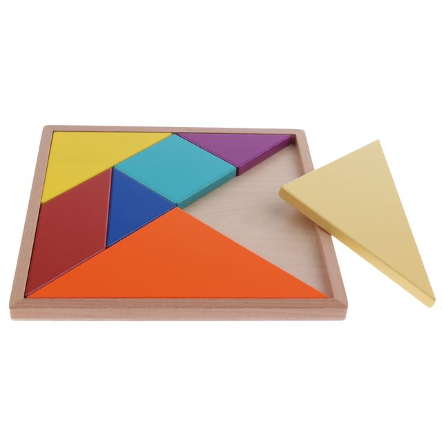 New Wooden Tangram Toy Geometrical Jigsaw Puzzle Brain Teaser Game Kids/Baby Early Learning - 22x22cm