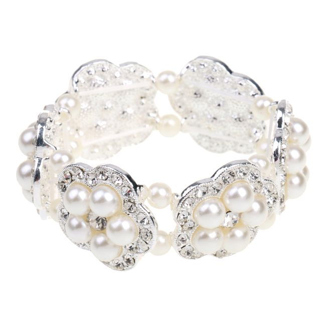 Women Girls Jewelry Crystal Rhinestone Floral Pearls Bracelet Bangle Jewelry Gifts