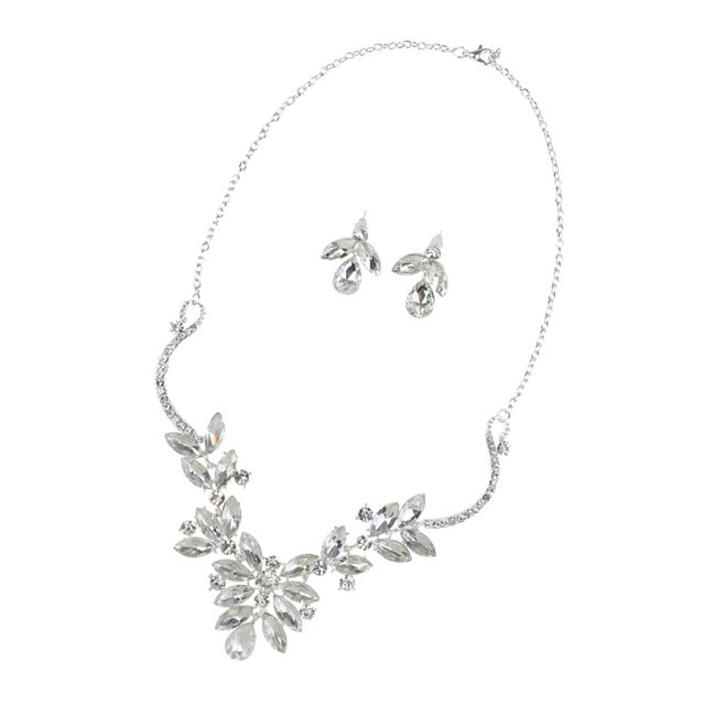 Bridal Wedding Shiny Crystal Waterdrop Floral Necklace Earrings Jewelry Sets
