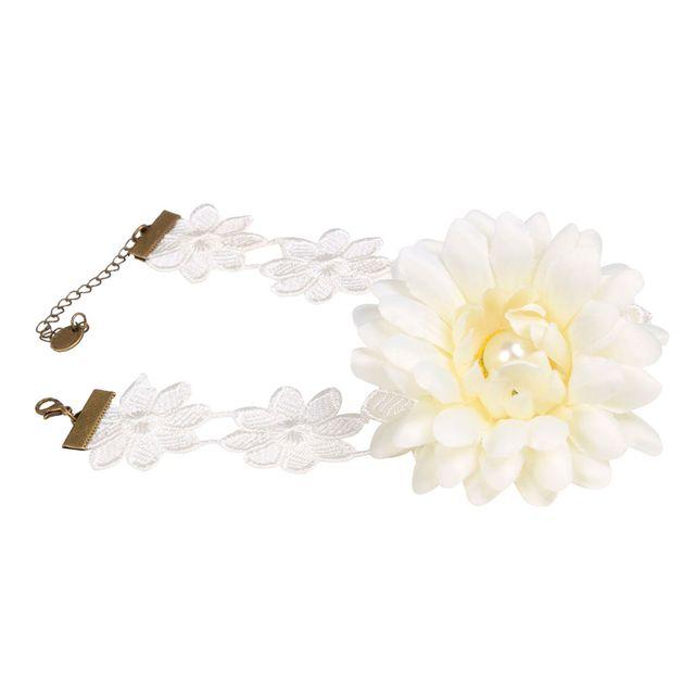 Sweet Large White Flower Lace Choker Necklace Wedding Bride Girls