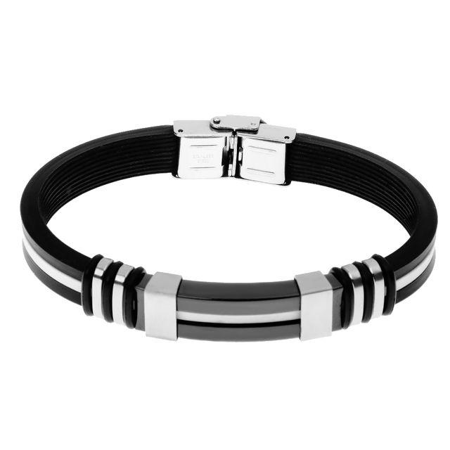 Cool Silica Gel Steel Clasp Bracelet Mens Bangle Wristband Jewelry Gift
