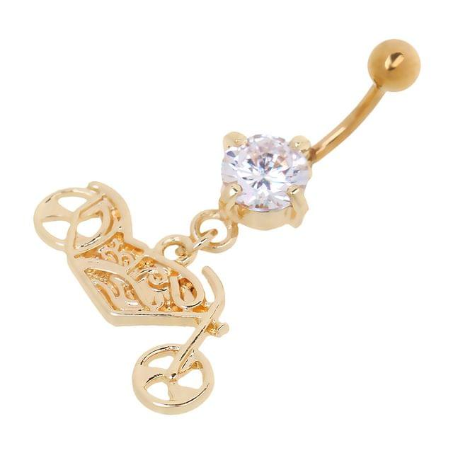 Gold Rhinestone Motorcycle Belly Button Ring Navel Bar Body Piercing Jewelry