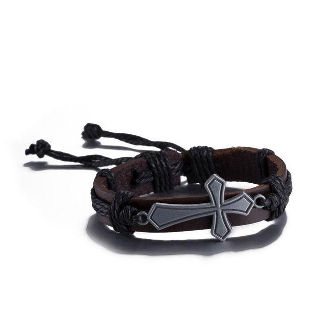 Vintage Metal Cross Leather Braided Rope Bangle Bracelet Wristband Men Women