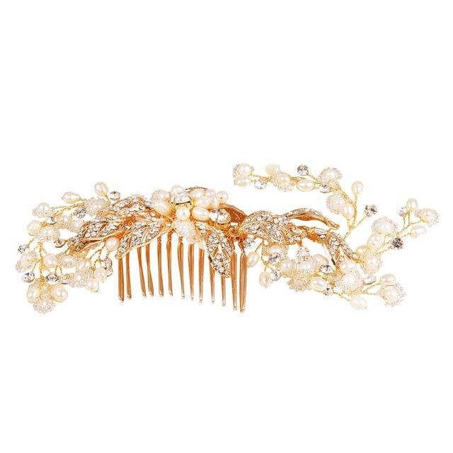 Women Girls Ladies Elegant Leaf Vine Hair Comb Headpiece Tiara Wedding Party Bridal Hair Accessory Gold