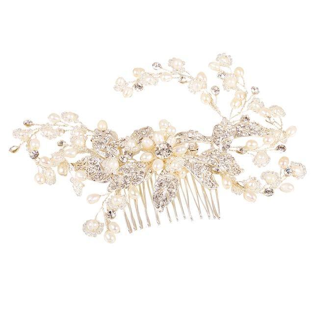 Water Pearls Floral Vine Hair Grip Slide Bridesmaid Prom Girls Hair Comb-Silver