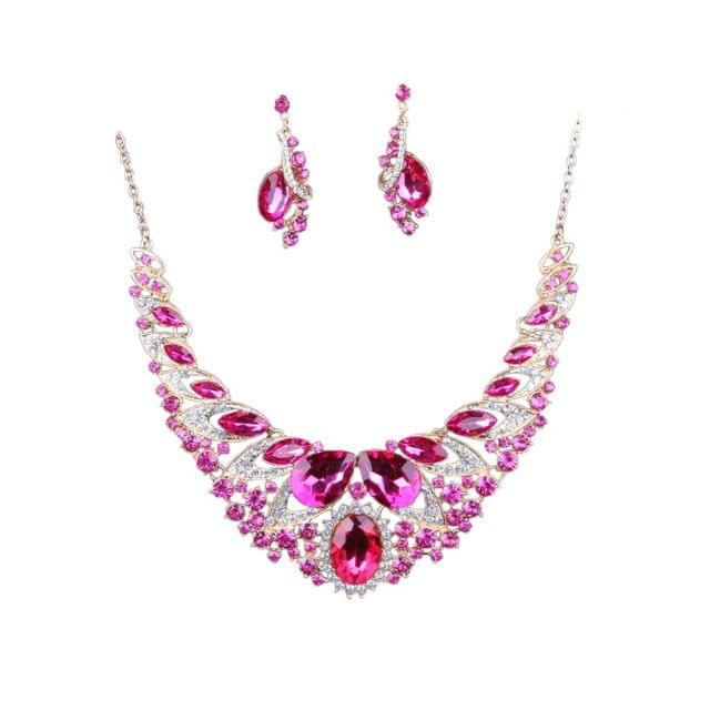 Set Of Women Girls Ladies Rhinestone Necklace With Earrings Fashion Accessory Party Wedding Jewelry Rose